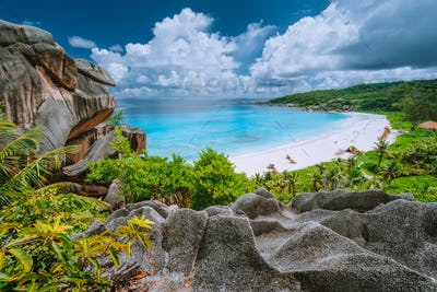 Grand Anse beach from view point. La Digue island, Seychelles