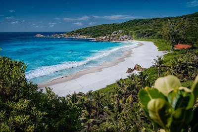 Panorama view of beautiful exotic Grand Anse beach on La Digue island in Seychelles