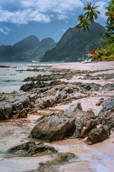 Beautiful amazing nature scenery. Tropical landscape in Philippines. beach at low tide with great