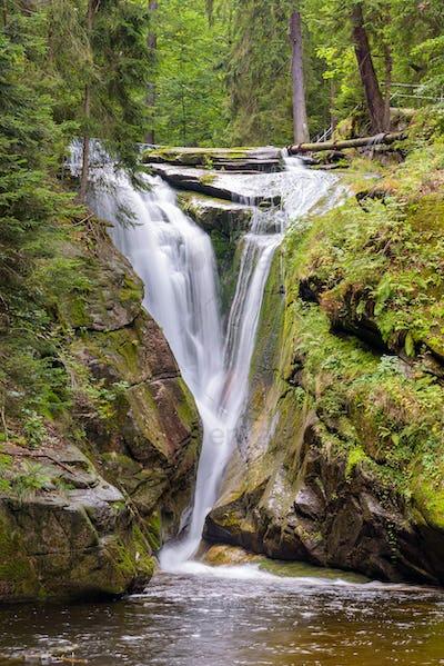 Waterfall of Szklarka river in Giant Mountains