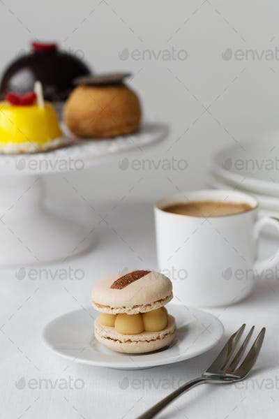 Elegant afternoon tea with macaron