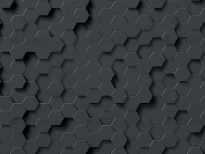 Abstract hexagons gray backdrop. 3d rendering geometric polygons.