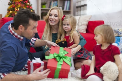 Happy time during the Christmas for young family