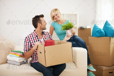Couple arranging a new flat