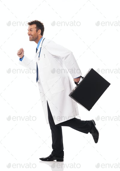 Doctor running urgency to patient