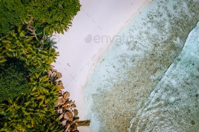 Top down aerial view of a young woman at paradise tropical beach. Crystal clear lagoon, summer