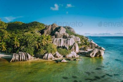 Granite rocks on Anse Source d'Argent beach at La Digue island, Seychelles