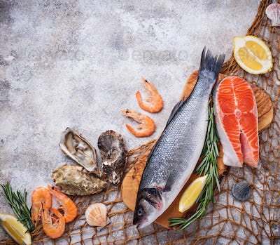 Seafood concept. Fish, shrimps and oysters.