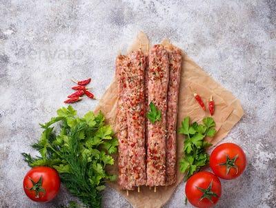 Minced meat skewers lula kebab