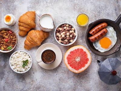 Set of various healthy breakfast