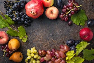 Various autumn fruits. Harvest concept