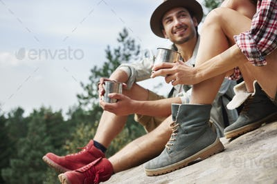 Hikers drinking coffee during a short break