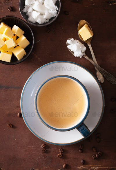 bulletproof coffee, keto paleo drink blended with butter and coc