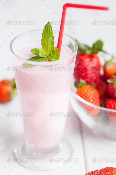 Close up of summer milk shake
