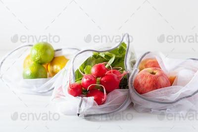 fruits and vegetables in reusable mesh nylon bag, plastic free z