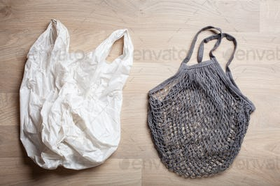 plastic and reusable mesh cotton shopping bag, plastic free zero