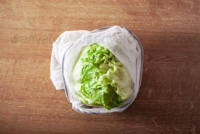 lettuce in reusable mesh nylon bag, plastic free zero waste conc