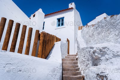 Chalk traditional house and narrow steps in beautiful, picturesque village Azenhas do Mar, Sintra