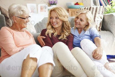 Woman's chatting and gossiping in grandmother home