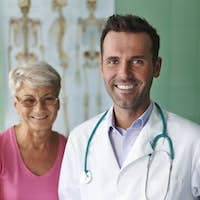 Portrait of doctor with his senior patient