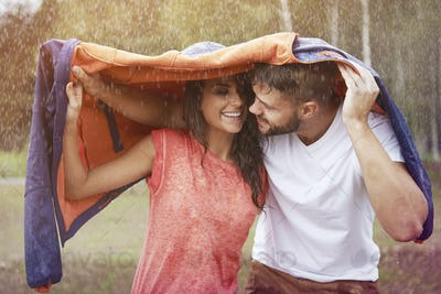 Romantic time in the rain