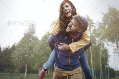 Happy time with special person in rainy day
