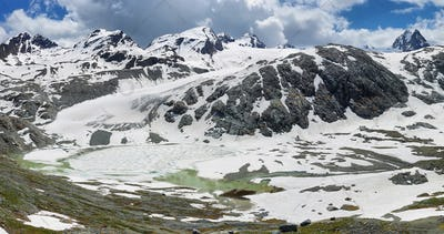 Amazing Rutor glacier and glacier lagoons, Aosta Valley, Italy