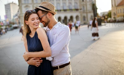 Beautiful couple in love travel, smiling, dating outdoors