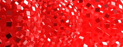 Red sphere abstract background, texture, banner. 3d illustration