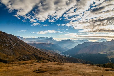 Italain Alps at sunrise, Passo Pordoi, Dolomites, Italy