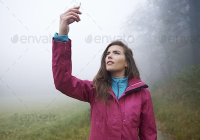 Searching connection for mobilephone in forest
