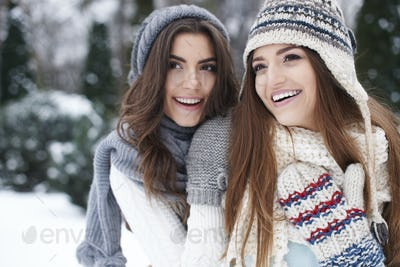 Portrait of lovely girls wearing warm clothes