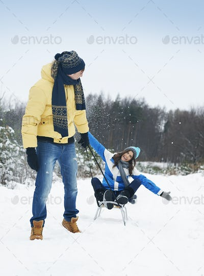 Faster faster! Pull the sled baby!