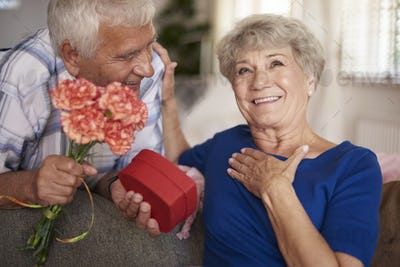 Happy woman has been given a present