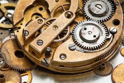 Ancient chronometer mechanism cogs gears wheels connection