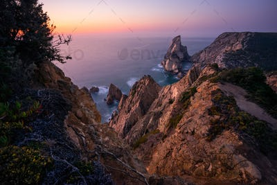 Praia da Ursa Beach at sunset. Flowers in foreground and surreal scenery. Sintra, Portugal, Europe