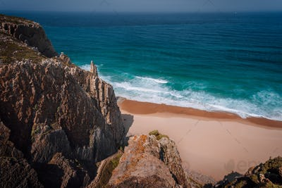 Rocky cliffs at praia grande at Atlantic ocean, Sintra, Portugal, Europe
