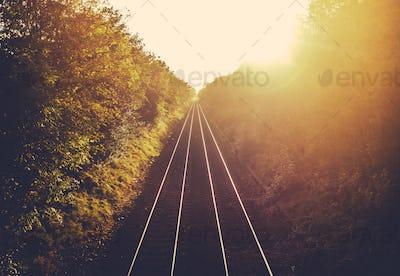 Train Tracks At Sunset