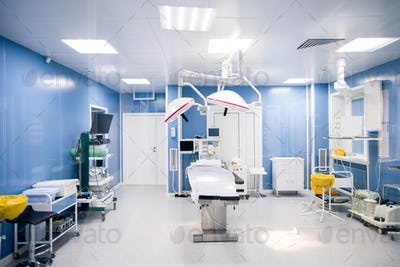 Interior of surgery room in modern clinics with all necessary equipment