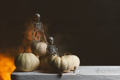 Halloween Composition, Skeletons and Pumpkins