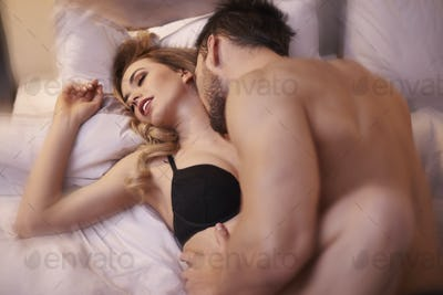 Moment of ecstasy in the bedroom