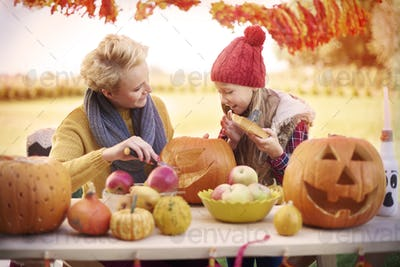 Preparing Halloween party with mom