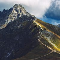 Tatra mountains peaks in the autumn. Trail towards Swinica in Poland