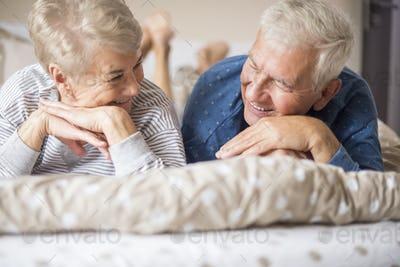 Happy senior marriage staring at each other