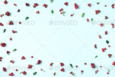 Colourful bright pattern made of natural berries on blue background. Top view. Summer red