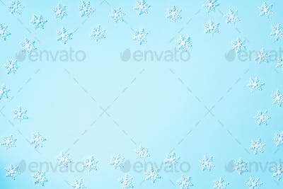 Winter composition. Christmas, new year concept. Top view. Flat lay. Winter pattern made of white