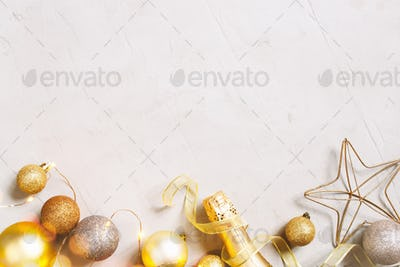 Christmas Background with Golden Balls and Champaign Bottle