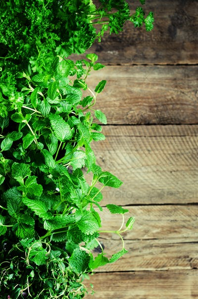 Abstract spring or summer concept. Organic herbs (melissa, mint, thyme, basil, parsley) on wooden