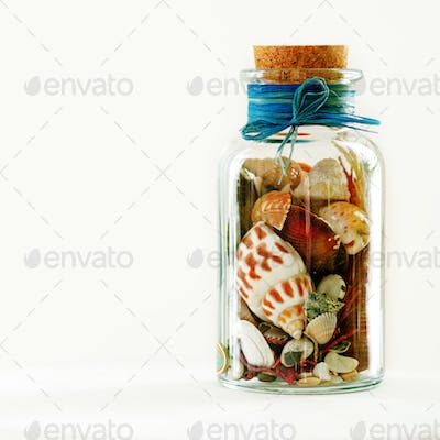 Sand and shells in bottle on white background. Free space for your text