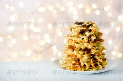 Vilnius, Lithuania. Traditional national cookies Sakotis. Copy space. Festive background, light new